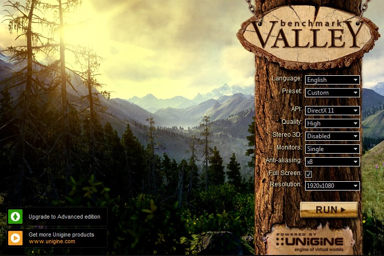 Unigine Valley, very popular and free benchmarking software.