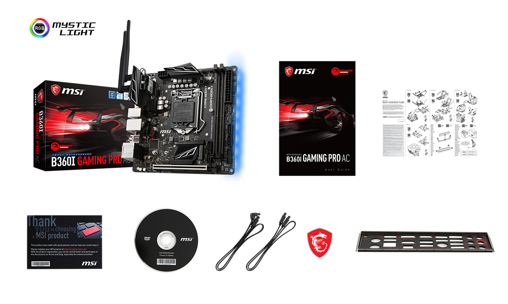 MSI B360I GAMING PRO AC box content