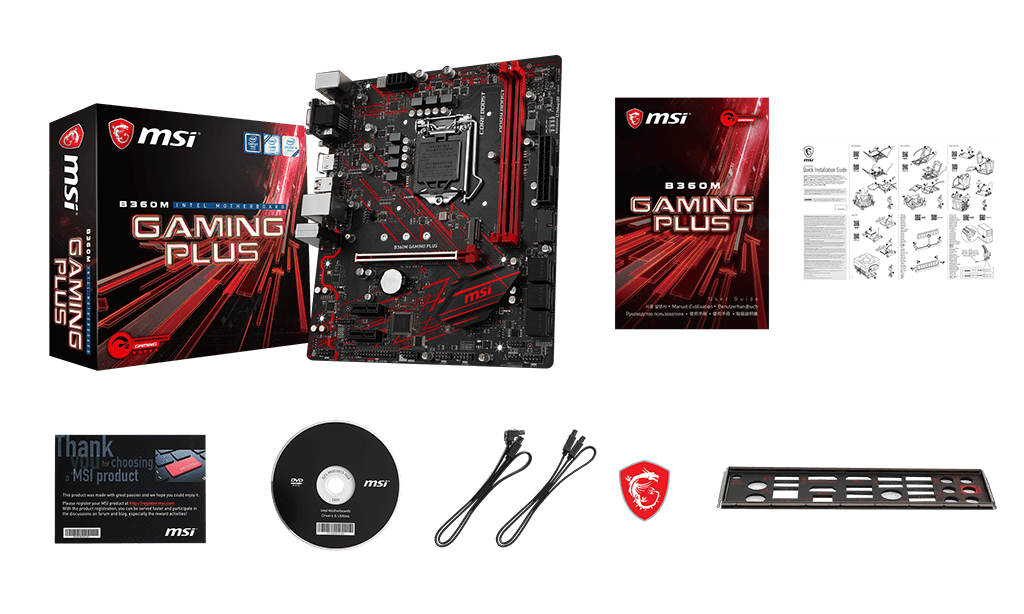 MSI B360M GAMING PLUS box content