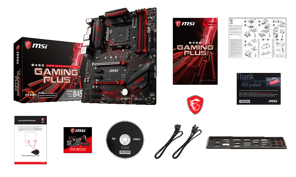 MSI B450 GAMING PLUS box content
