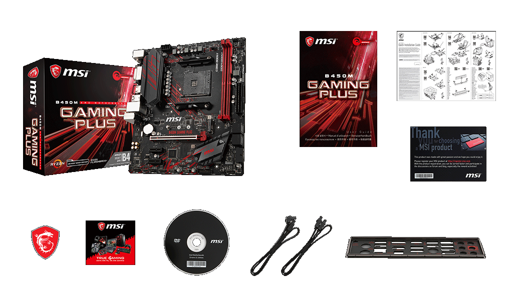 MSI B450M GAMING PLUS box content