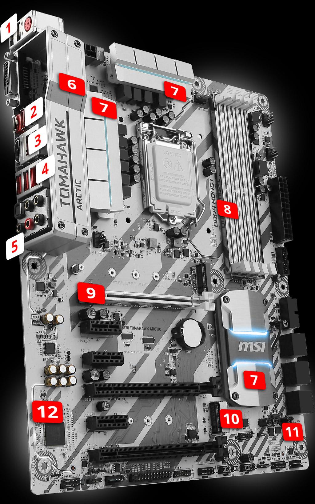 MSI Z270 Tomahawk Arctic Socket LGA1151 Gaming Motherboard