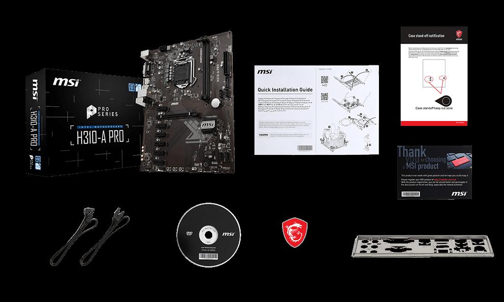 MSI H310-A PRO box content
