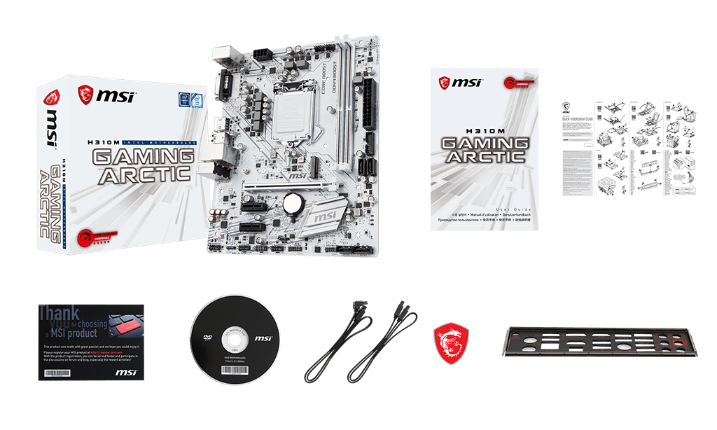 MSI H310M GAMING ARCTIC box content