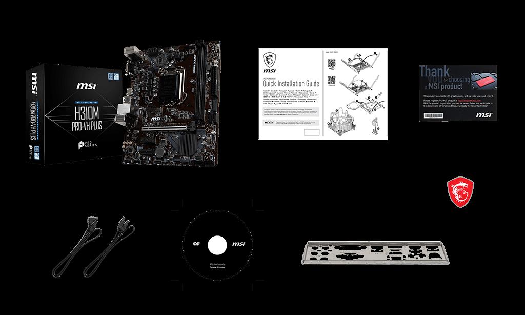 MSI H310M PRO-VH PLUS box content