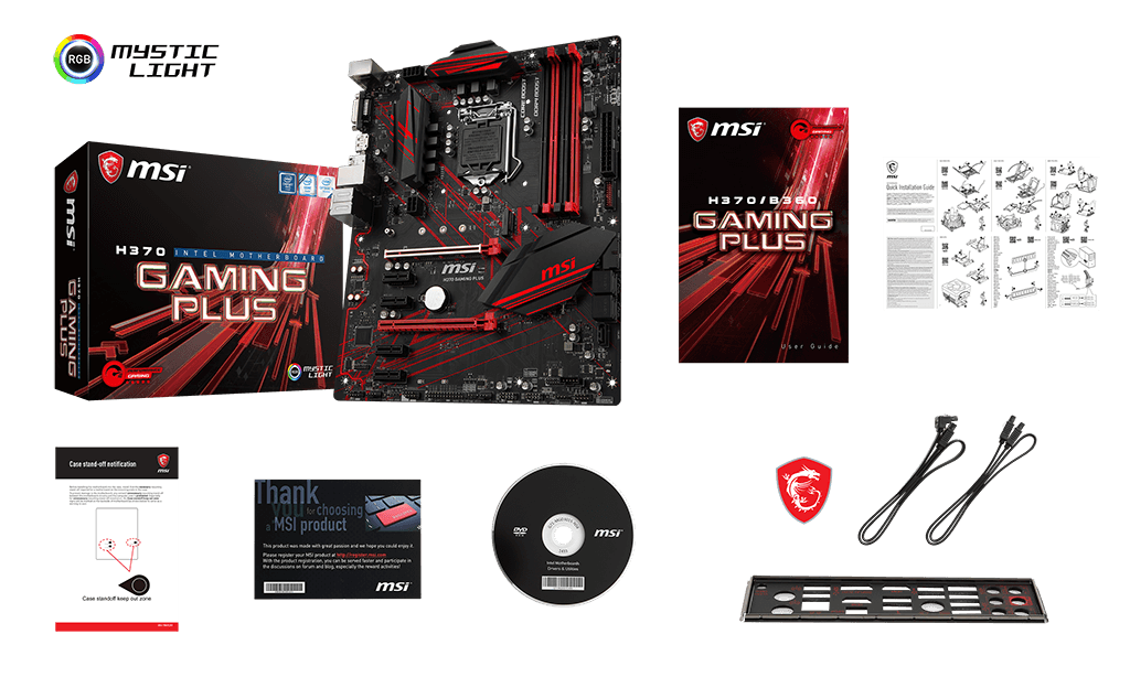 MSI H370 GAMING PLUS box content