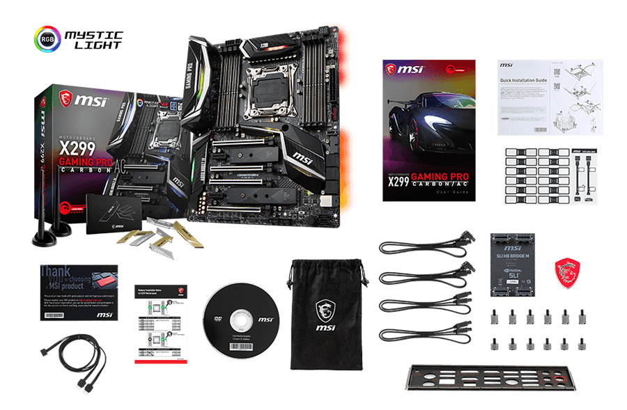 MSI X299 GAMING PRO CARBON AC box content