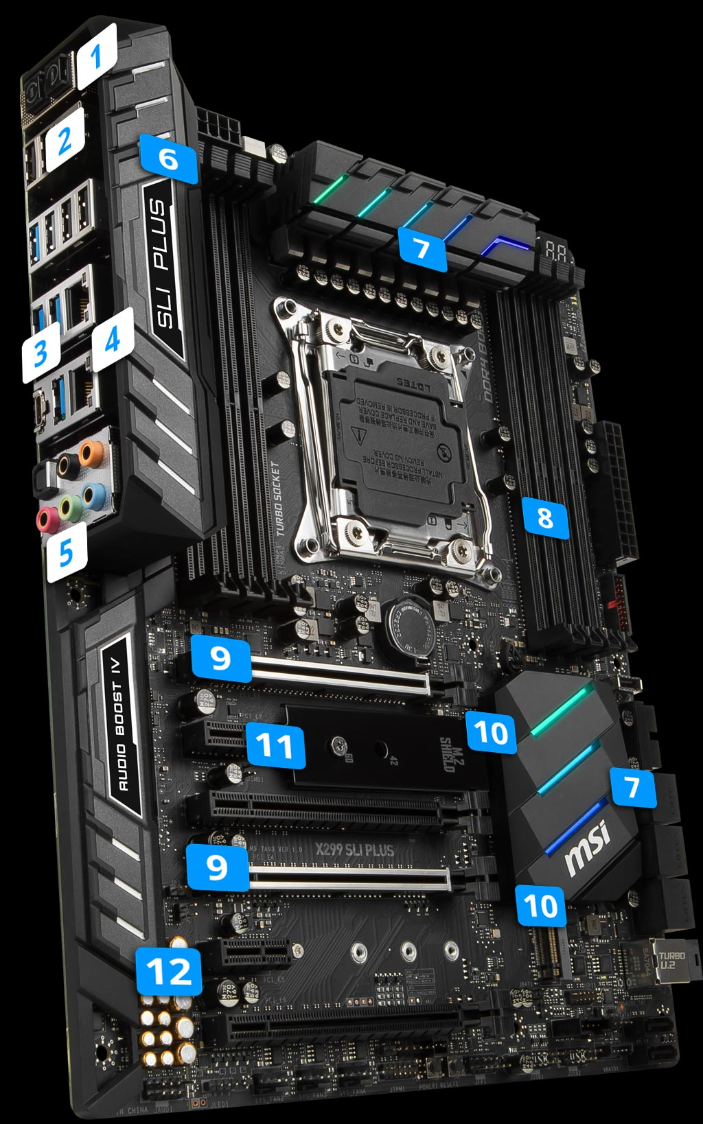 MSI X99-A Sli Plus USB 3.1 Ready DDR4 LGA2011v3 Socket Motherboard