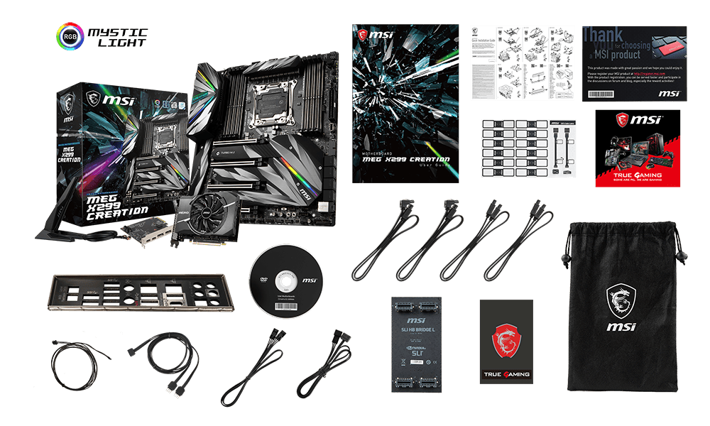MSI MEG X299 CREATION box content