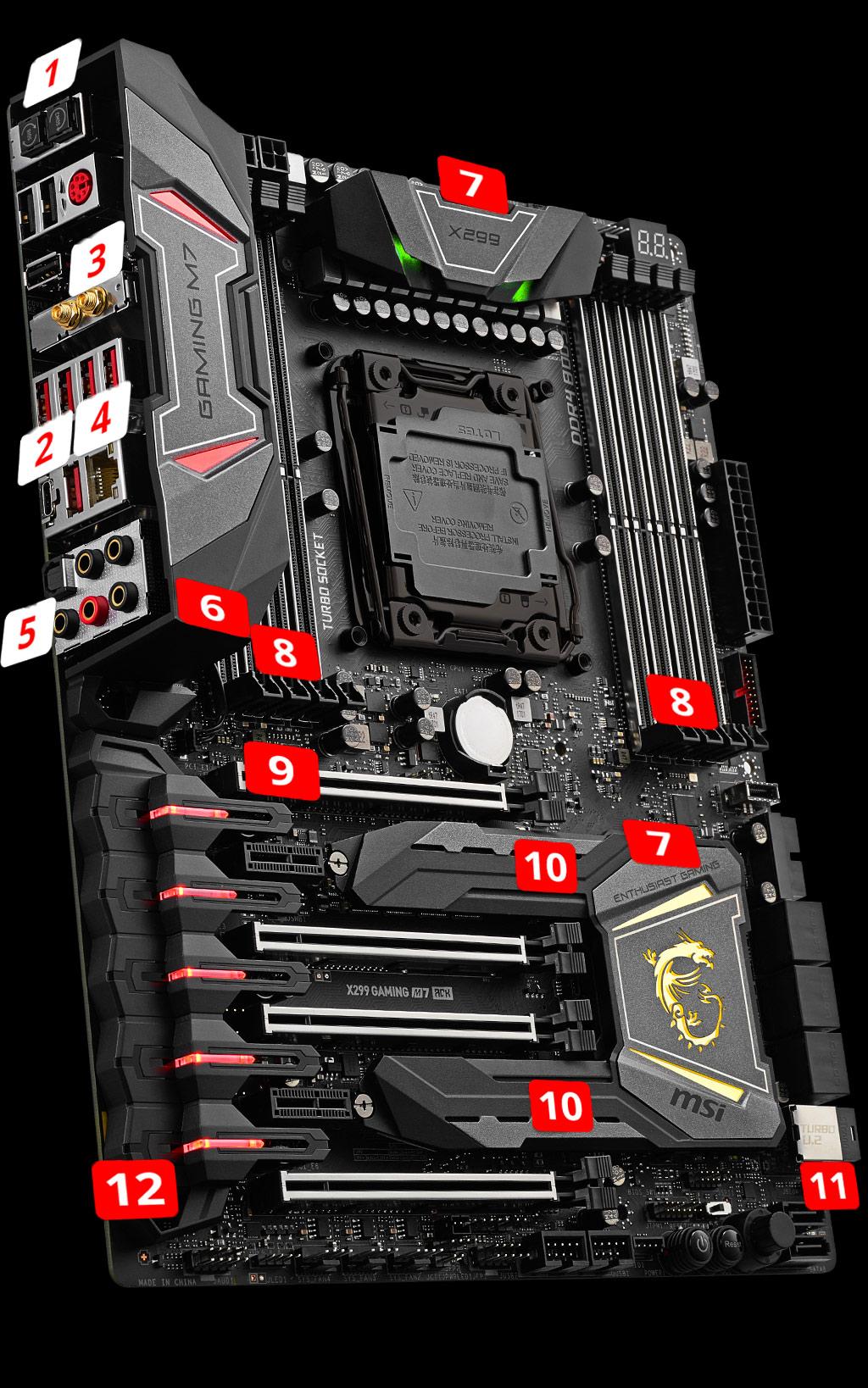 MSI X299 Gaming M7 ACK LGA 2066 ATX Motherboard