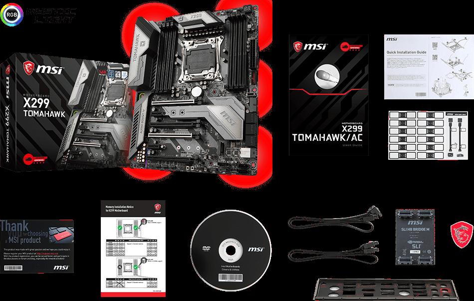 MSI X299 Tomahawk LGA 2066 ATX Motherboard