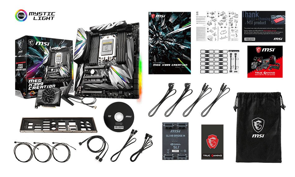 MSI MEG X399 CREATION box content