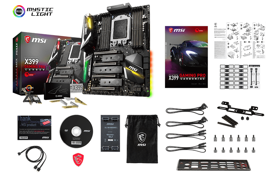 MSI MEG X399 GAMING PRO CARBON AC CREATION box content