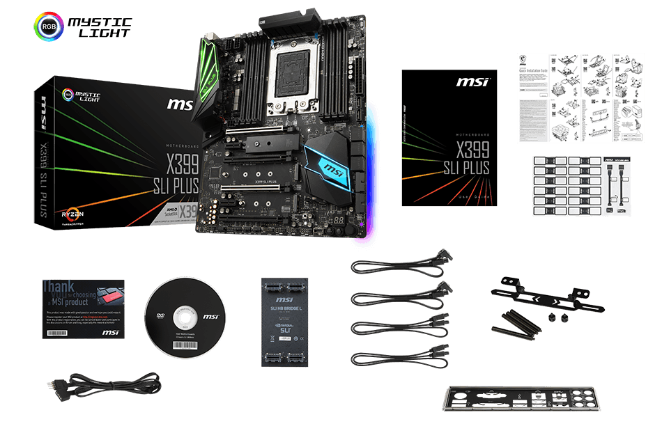 MSI MEG X399 SLI PLUS CREATION box content
