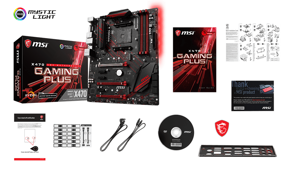 MSI x470 gaming plus box content
