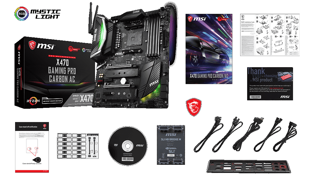 MSI X470 GAMING PRO CARBON AC box content