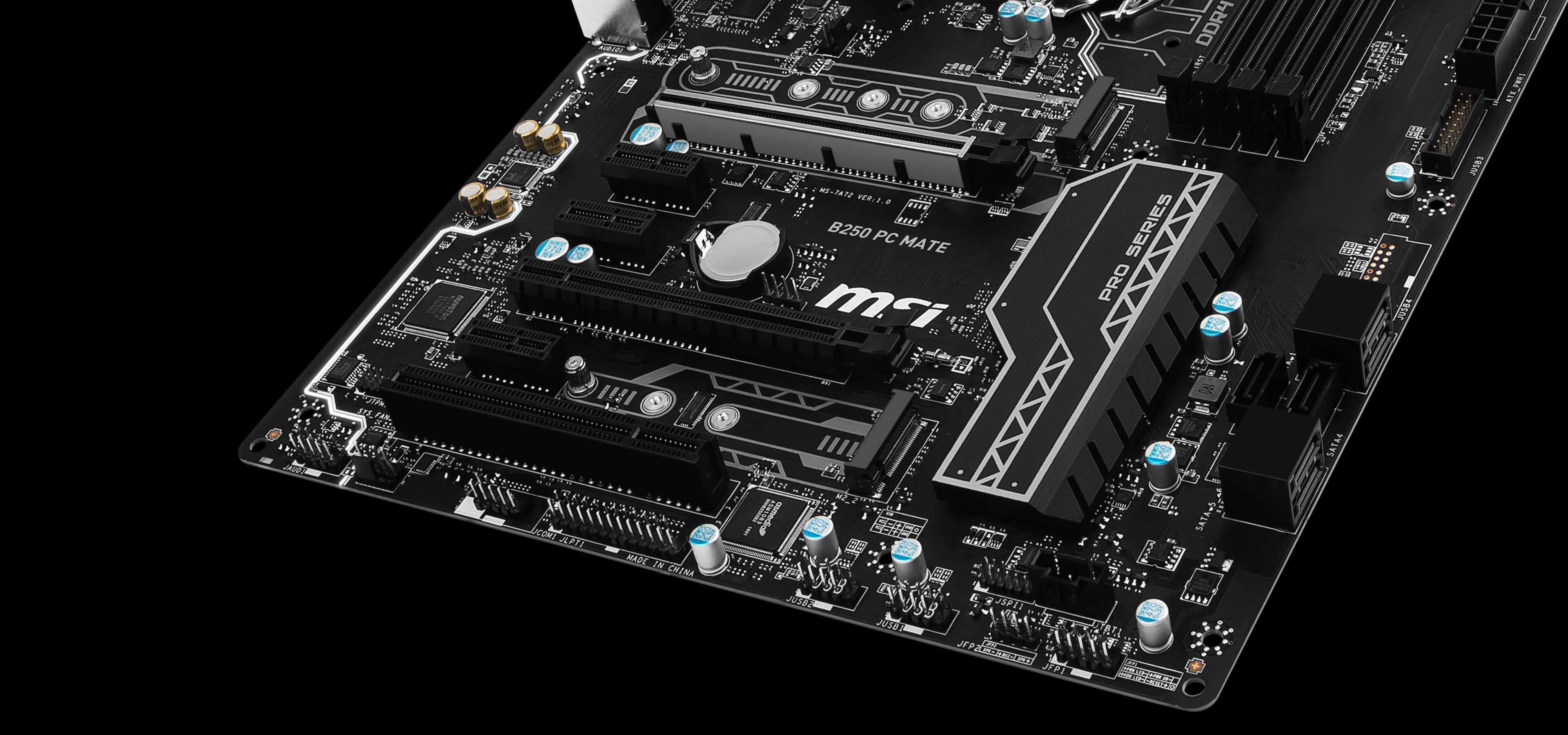 MSI B250 PC MATE 7th/6th Gen USB3 ATX Motherboard - Black (Intel Core i3/i5/i7 Processor, LGA 1151, Dual Channel DDR4, USB 3.1, PCI-E 3.0, PCI-E x1, Sata 6 GB)