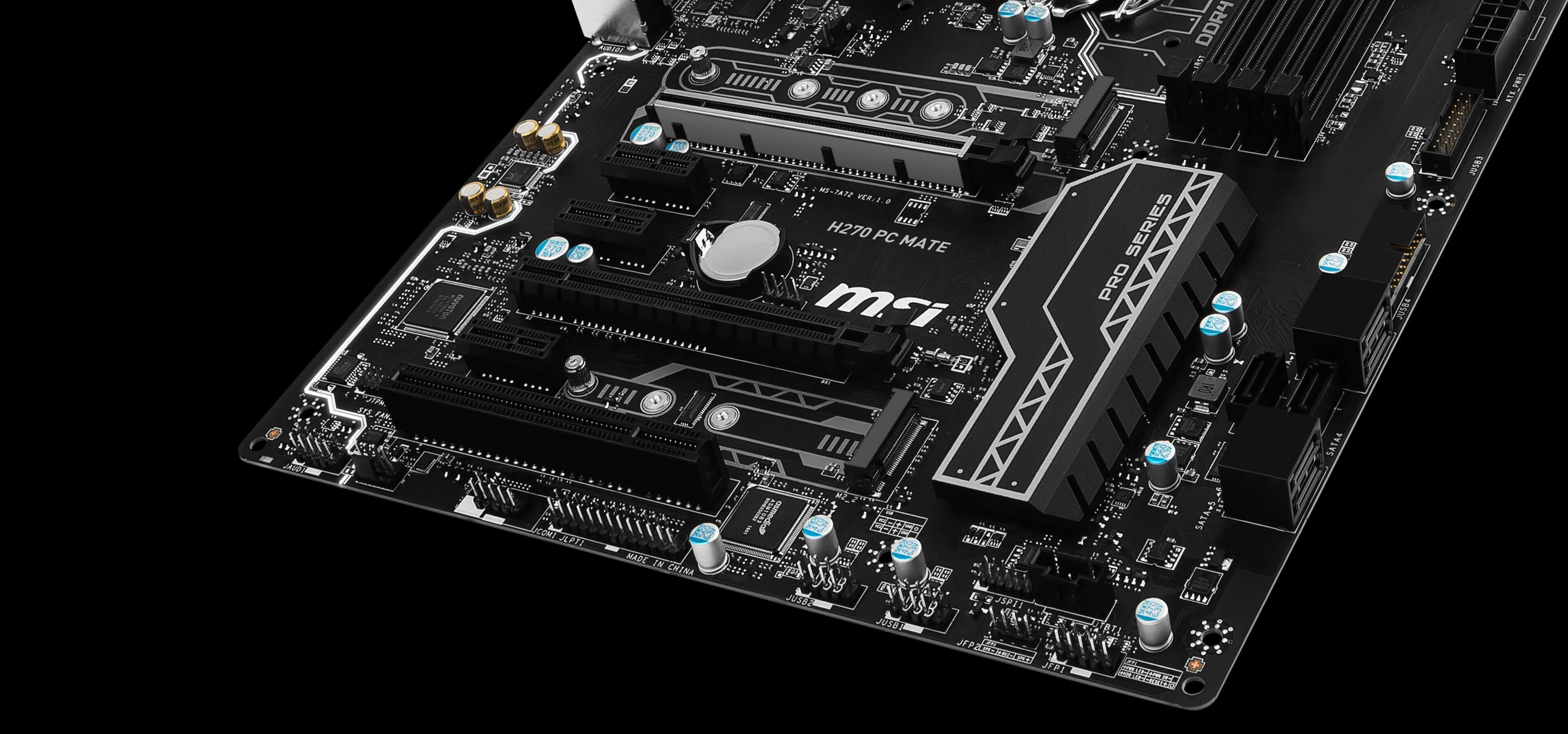MSI H270 PC MATE 7th/6th Gen USB3 ATX Motherboard - Black (Intel Core i3/i5/i7 Processor, LGA 1151, Dual Channel DDR4, USB 3.1, PCI-E 3.0, PCI-E x1, Sata 6 GB)