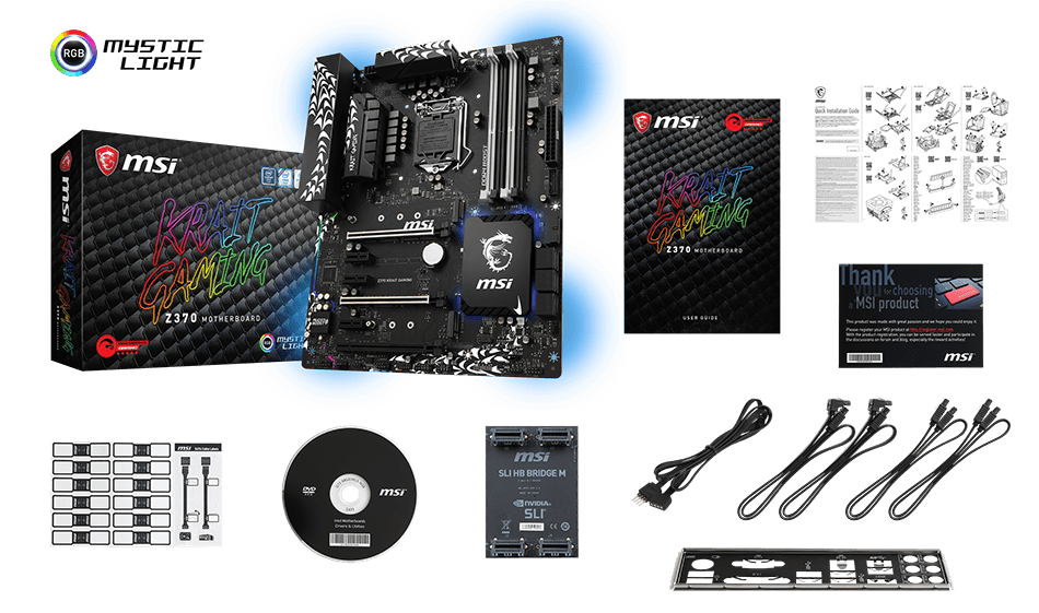 MSI Z370M GAMING PRO CARBON AC box content