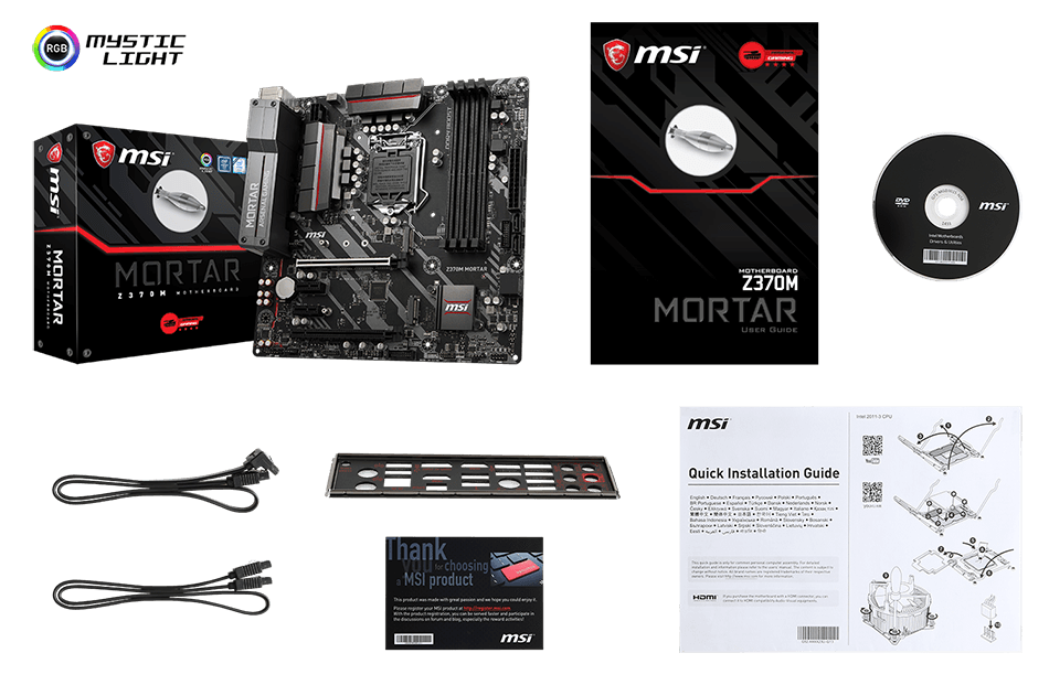 MSI Z370M MORTAR box content
