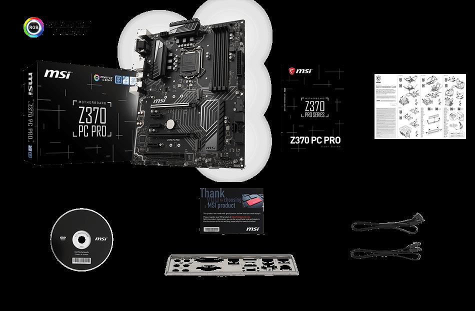 MSI ZZ370 PC PRO box content