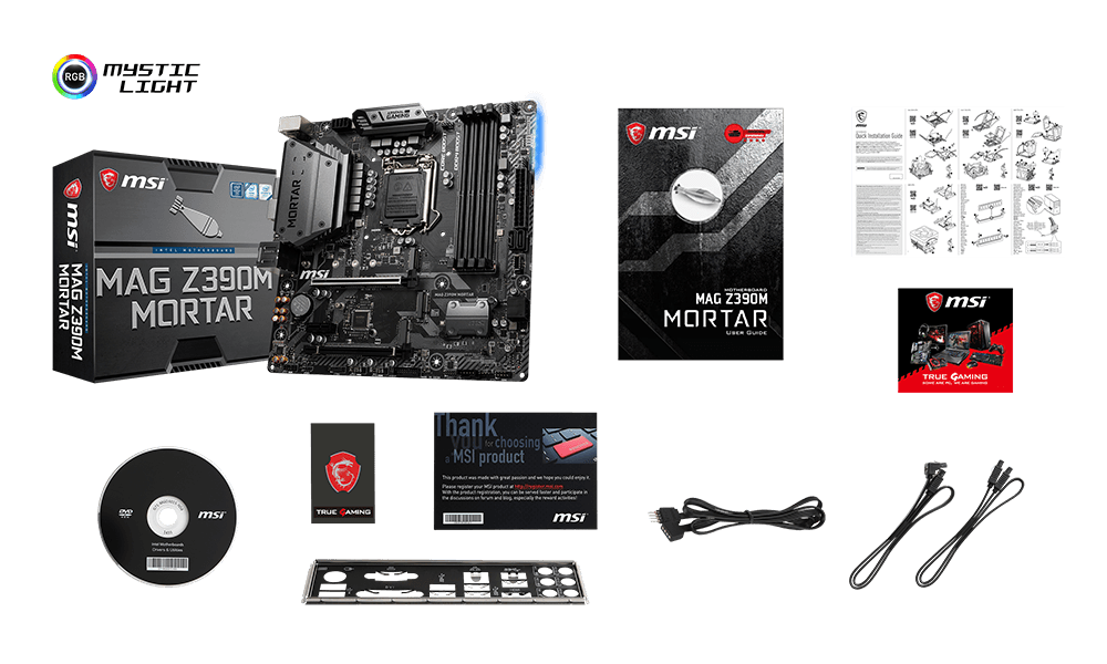 MSI MAG Z390M MORTAR box content