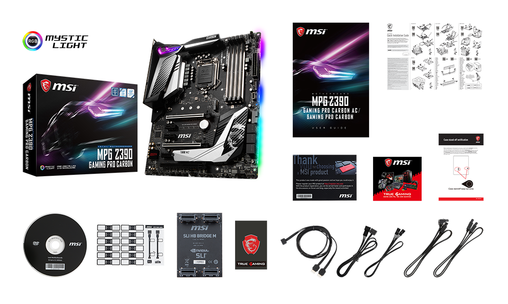 MSI mpg z390 gaming pro carbon box content