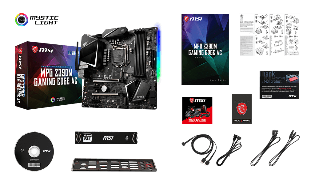 MSI Z390M GAMING edge ac box content