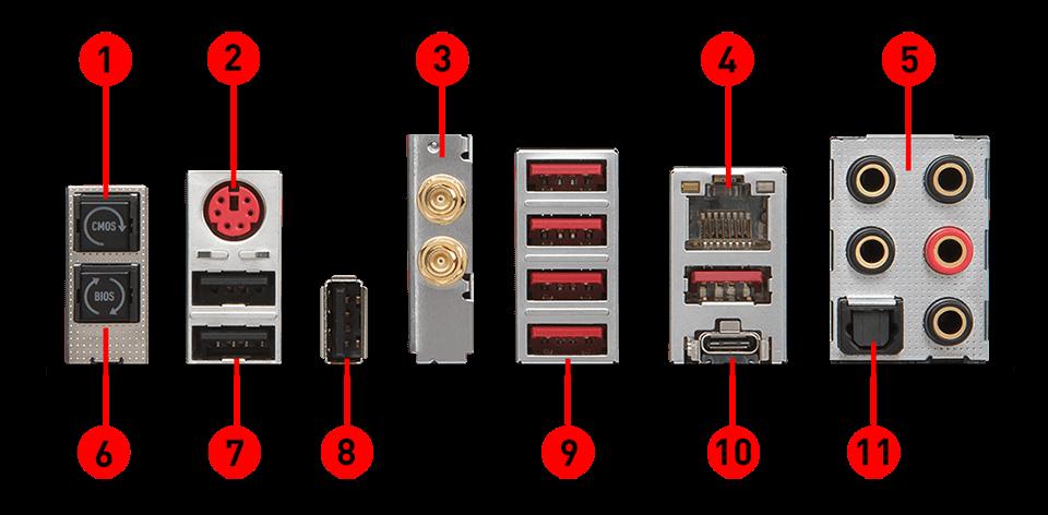 MSI X299 TOMAHAWK AC back panel ports
