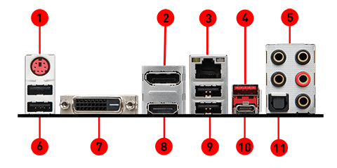 MSI B360M MORTAR back panel ports