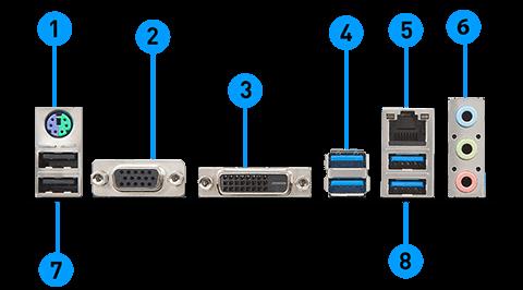 MSI B360M PRO-VD back panel ports