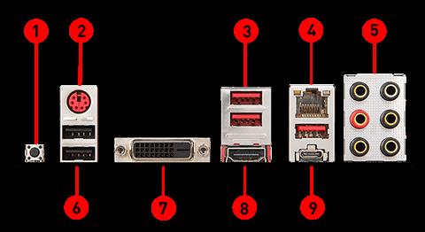 MSI B450 TOMAHAWK back panel ports