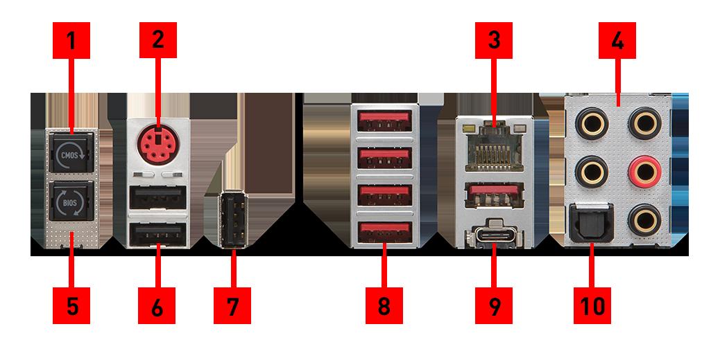 X299 Tomahawk back panel ports