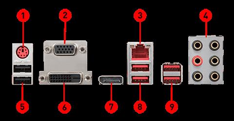 MSI Z370 GAMING PLUS back panel ports