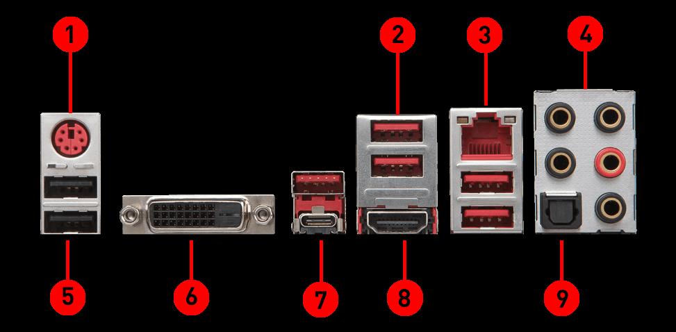 MSI z370 tomahawk back panel ports