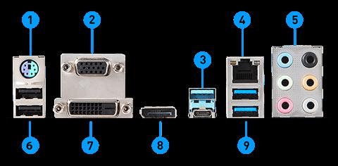 MSI Z390-A PRO back panel ports