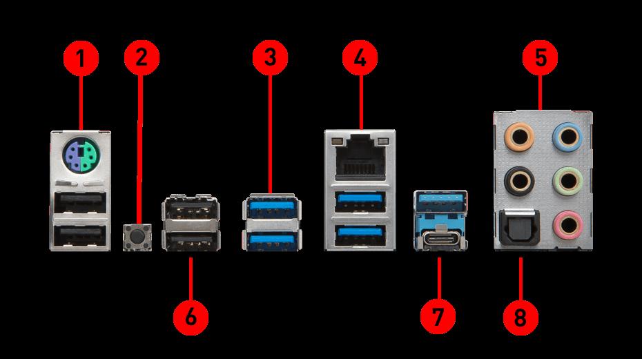 X299 RAIDER back panel ports
