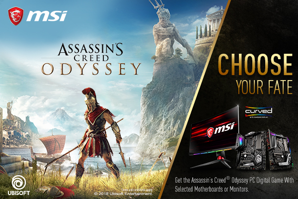 Choose Your Fate: Assassin's Creed Odyssey Game Bundle | Motherboard & Monitor | MSI