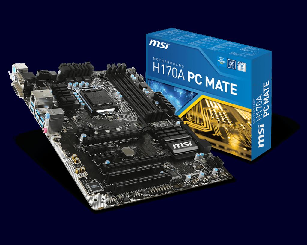 H170a Pc Mate Motherboard The World Leader In Design Asush170 Pro Socket 1151 Lga Chipset Intel H170 Msi Global
