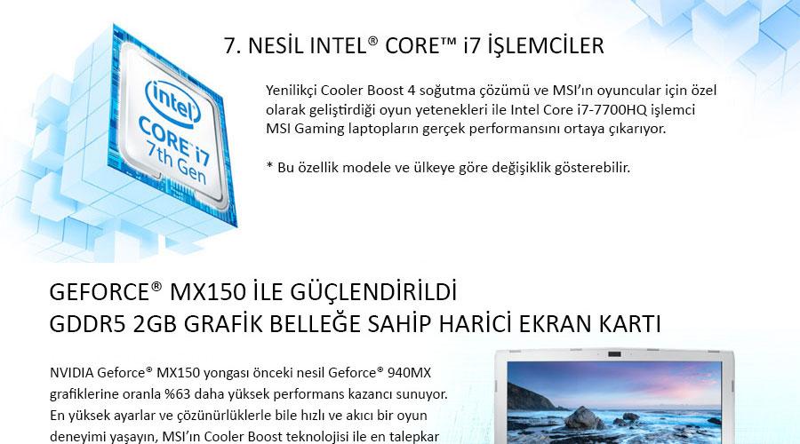 MSI PL62 7RC-276XTR Intel Core I5 7300HQ 2.5GHz 4GB 1TB 2GB MX150 15.6'' FreeDOS Notebook