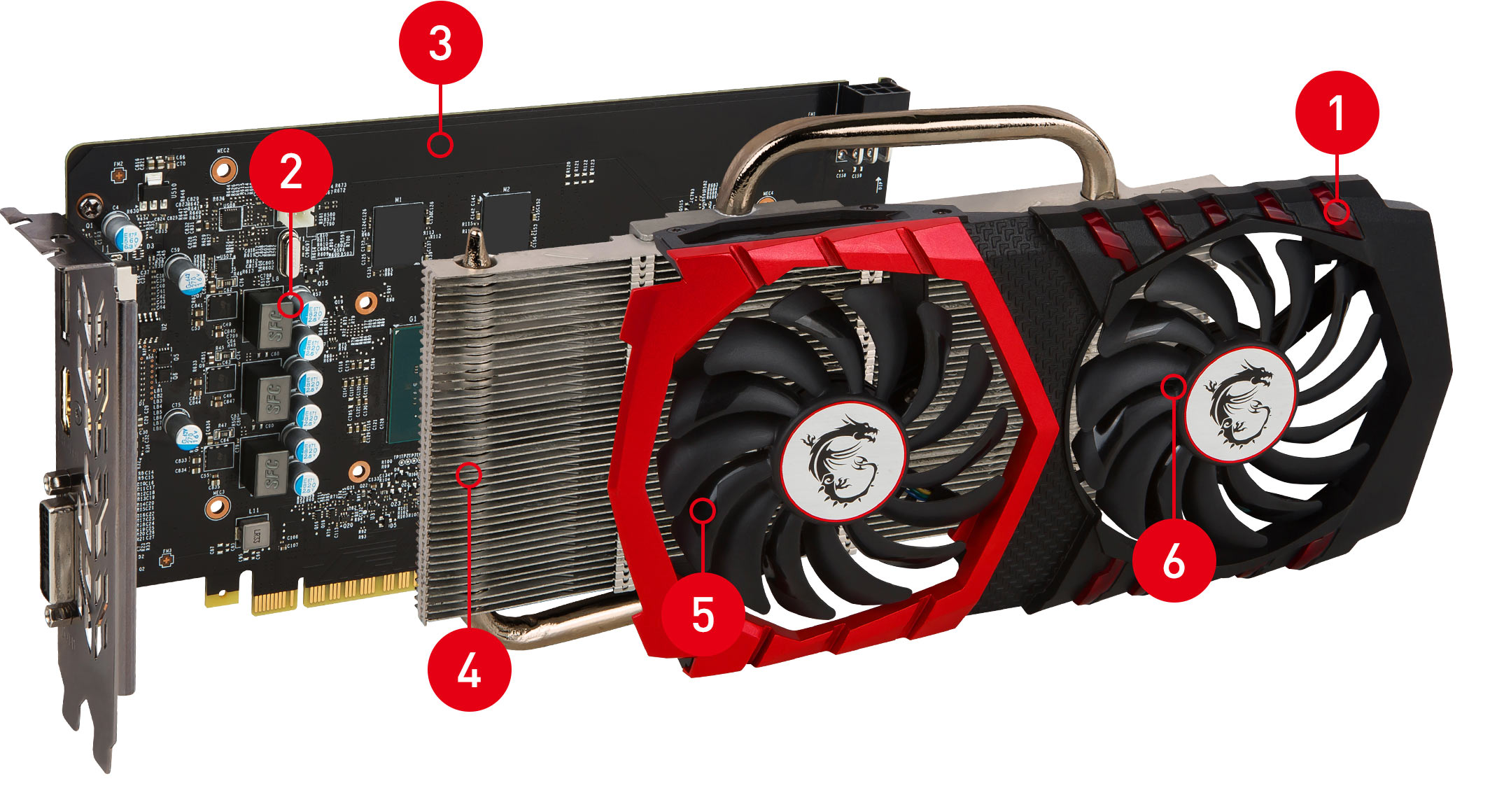 GTX 1050 GAMING X 8G exploded view