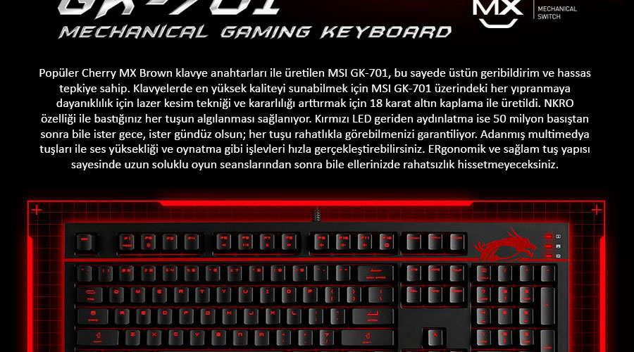 MSI GK-701 İngilizce Tuş Dizilimi Cherry MX Brown Switch