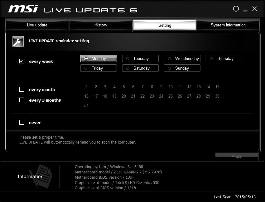 Live update 6 manual | msi usa.